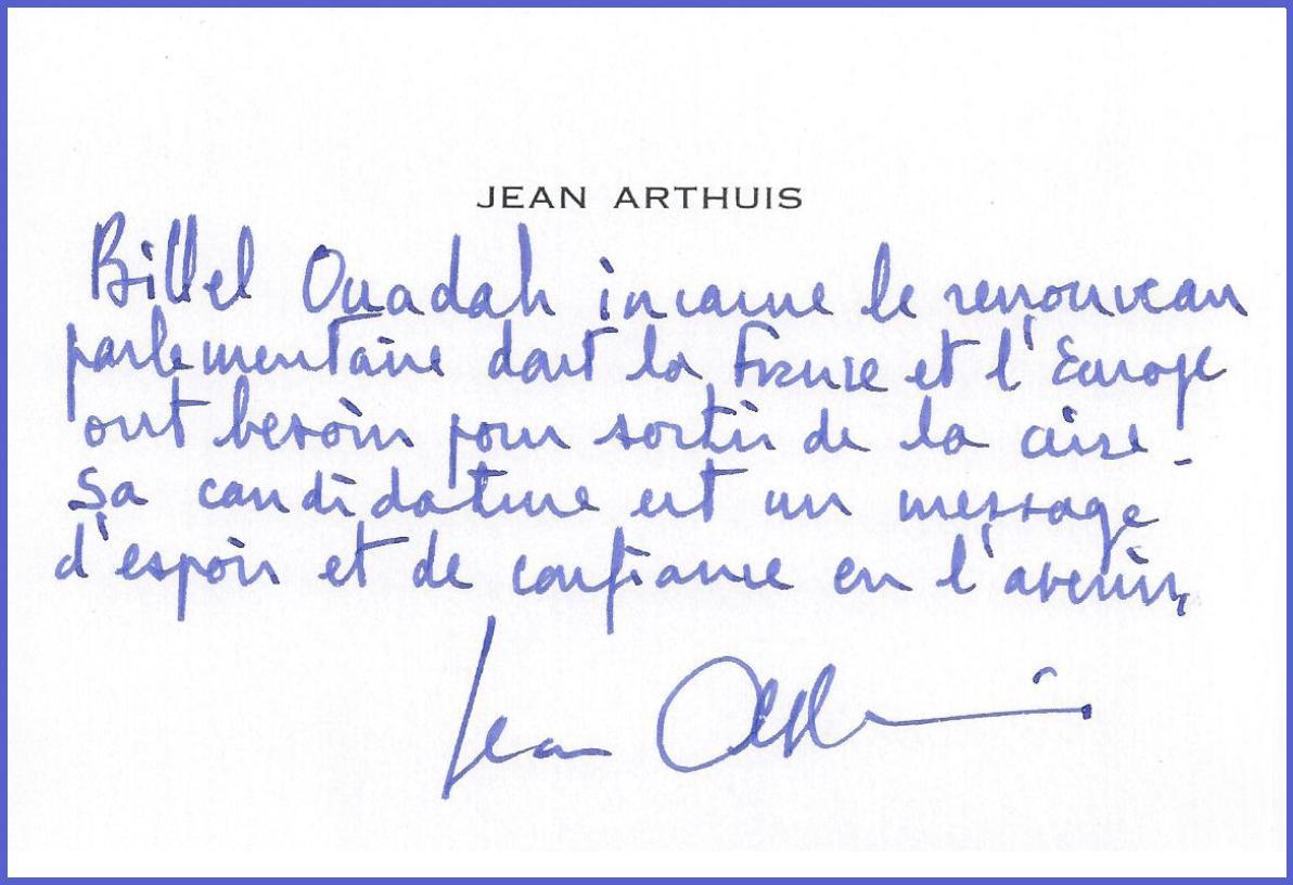 Message de soutien de Jean Arthuis à Billel Ouadah - image Message-de-soutien-de-Jean-Arthuis-à-Billel-Ouadah on http://www.billelouadah.fr